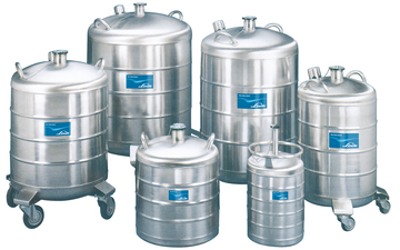 A collection of portable cryogenic storage vessels typically covered by BOC's Cryocare service