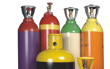A selection of packaged chemicals cylinders