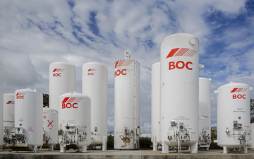 A selection of BOC industrial gas bulk storage tanks