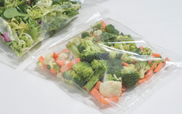 Fresh vegetables packaged using modified atmosphere packaging to extend shelf-life