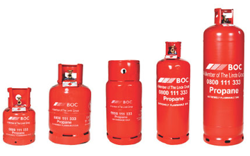Five red gas cylinders of increasing size, each containing propane gas