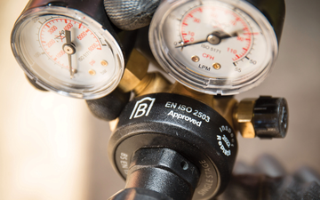 Close-up of a BS EN ISO 2503 approved gas regulator